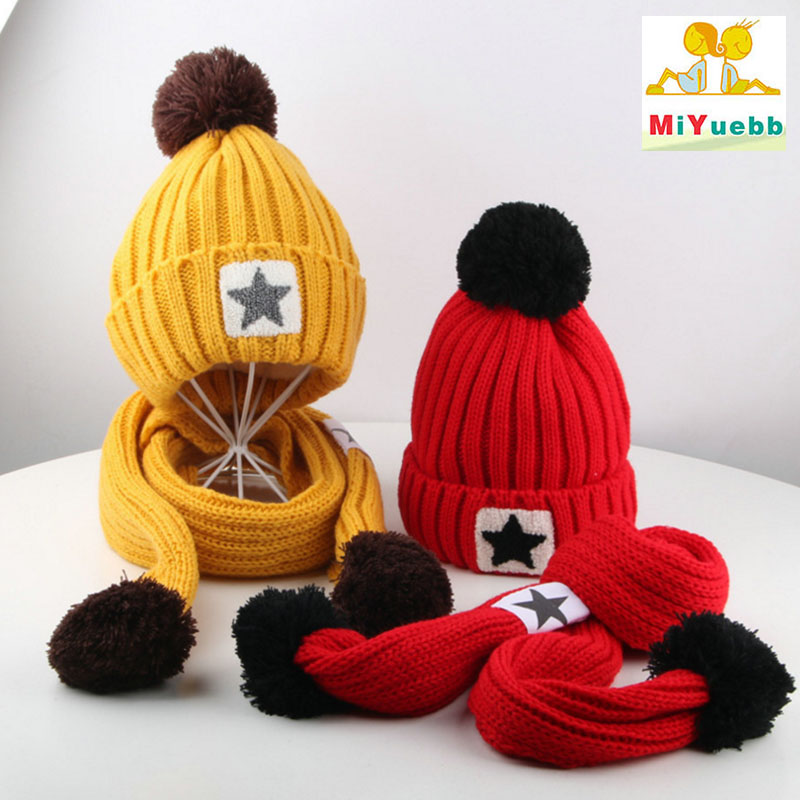 Hats & Caps Boys' Baby Clothing Two-piece Baby Winter Knitted Fur Ball Hat Children Plush Cartoon Hat Scarf Boy Girl Protection Warm Hat Scarf Set