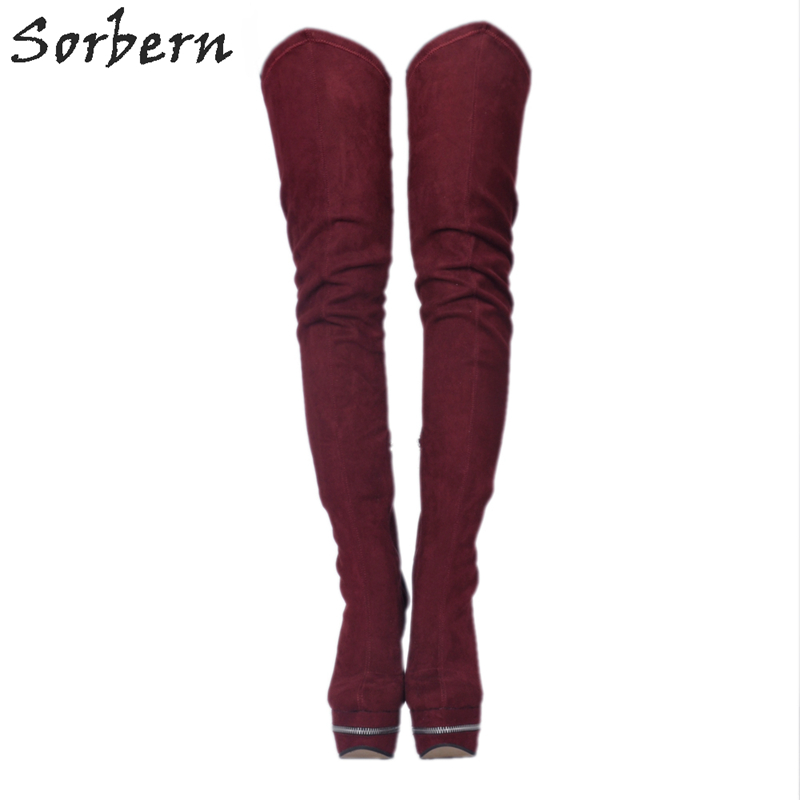 Sorbern Burgundy Womens Shoes Size 10 Thigh High Boots For Womens Platform Shoes Women Boots With Zippers Plus Size 34-48 sorbern extrem high heel strange style wedges thigh high boots designer platform boots long custom shoes women plus size 4 15