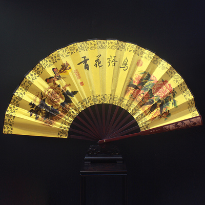 10 Large Bamboo Silk Hand Fans Wedding Favors Chinese Folding Fan Painting Crafts Rib Of Carve Patterns In Decorative From Home Garden On