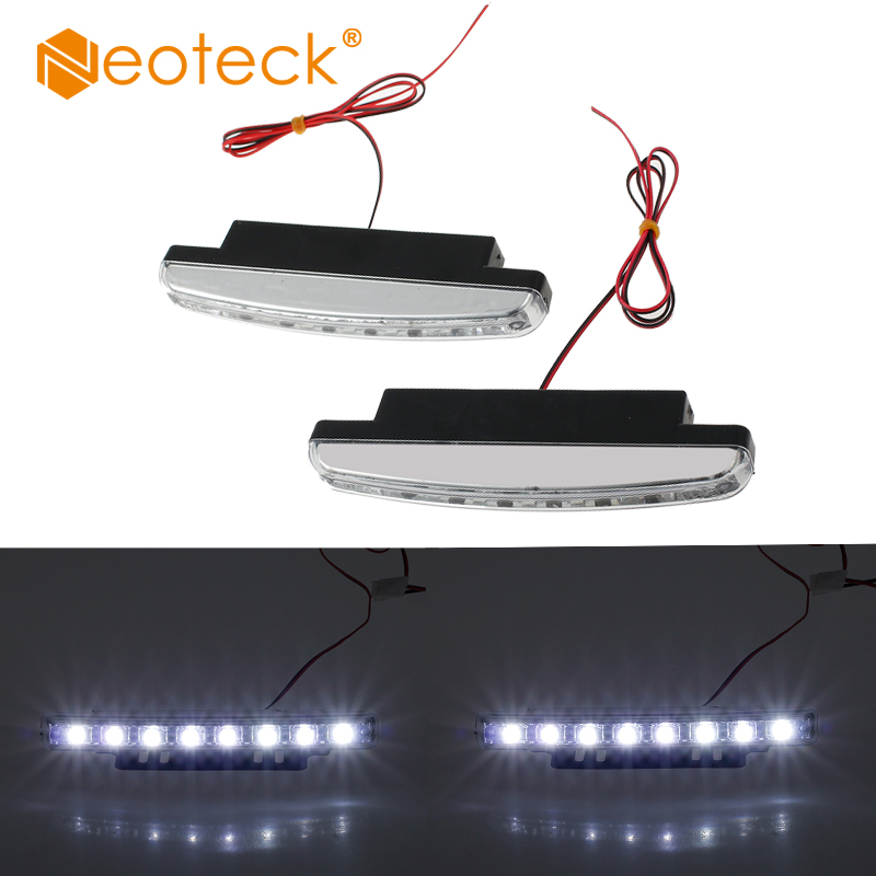 Neoteck 2 Pcs 8 LEDs Daytime Running Lights Driving DRL Fog Lamp Light Super White 12V L ...