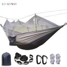 ทนทานเปลญวนเต็นท์สูงผ้าร่มชูชีพแขวนเตียงนอนกับยุงสุทธิสำหรับกลางแจ้ง Camping Survival