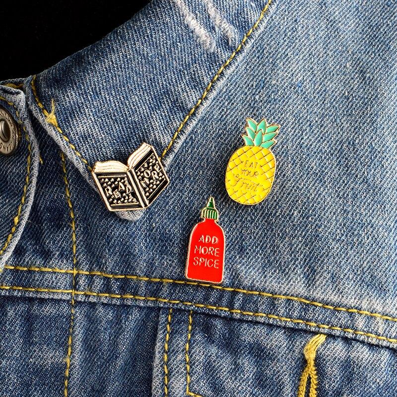 3 шт./компл. мультфильм книга ананас добавить больше специй Брошь Pin джинсовая куртка свитер пальто Icon контакты значок для девочки Для женщин...