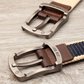 2016 Single Pin Buckle Canvas Men Belt Outdoor Leisure Students Joker Belts High Quality Stripe Strap for Unisex Adults