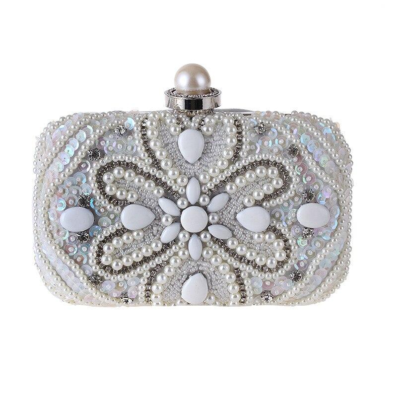 Vintage perlé femmes sacs de soirée strass mariage sacs à main diamants perle poignée chaîne épaule Messenger sacs 2018 nouveau