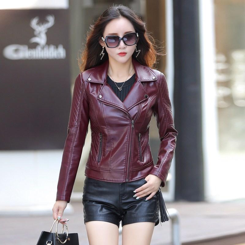 leather   jacket women short design slim vintage casual   leather   jackets coats K6728