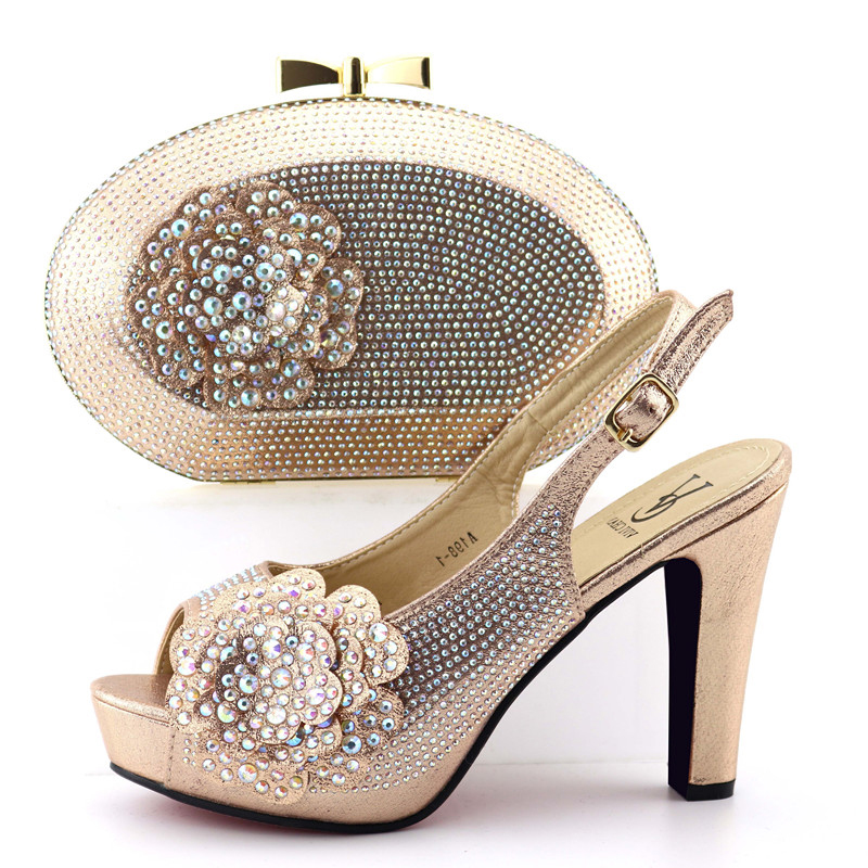 d67f64a43033 Nice fashion champagne gold shoes and bag matching set with many stones  high heel 4.45 inches