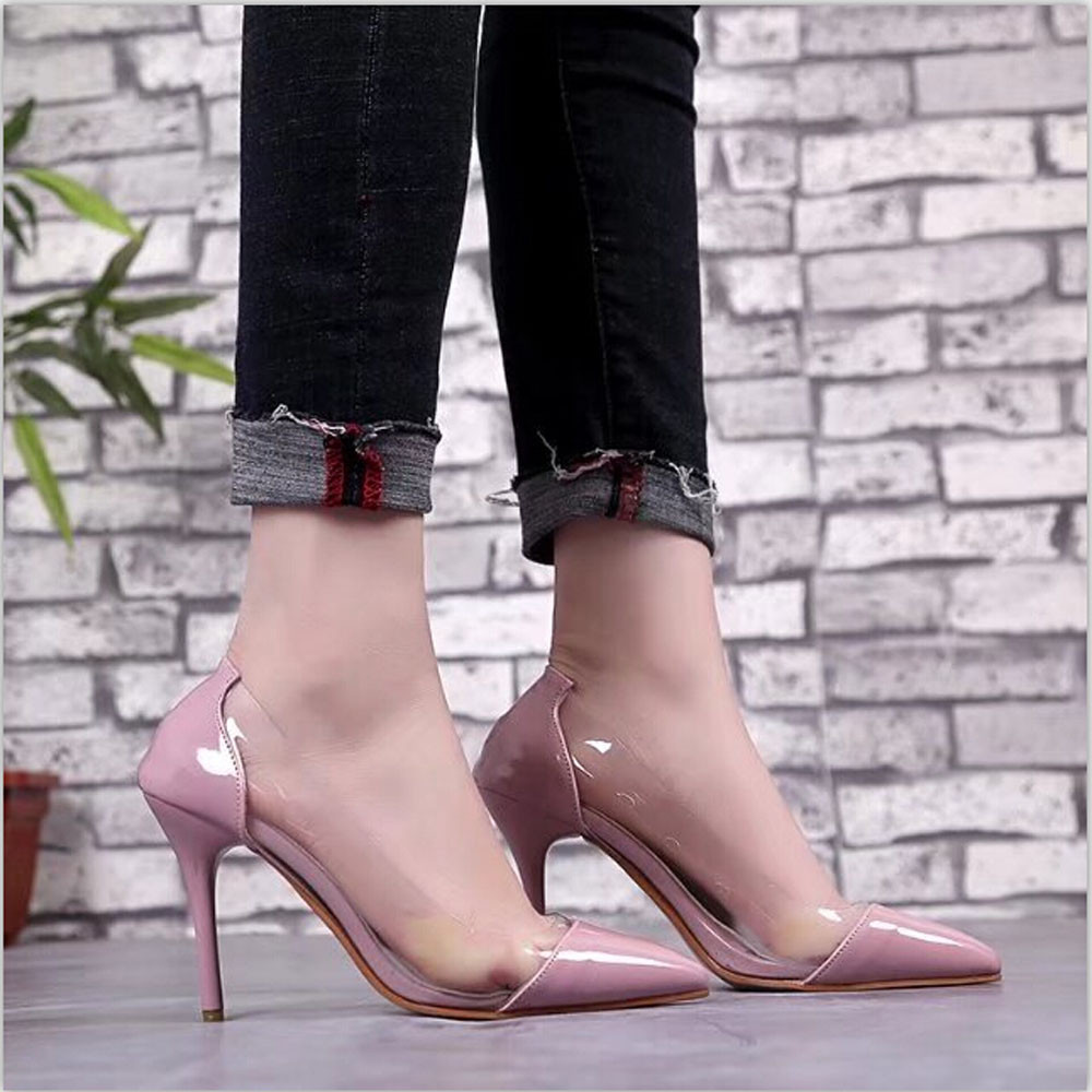 Summer Women Sandals Pumps Transparent High Heels Sandals Sexy Pointed Toe Slip-on Wedding Party Shoes Sandalias Mujer Zapatos cdts 35 45 46 summer zapatos mujer peep toe sandals 15cm thin high heels flowers crystal platform sexy woman shoes wedding pumps