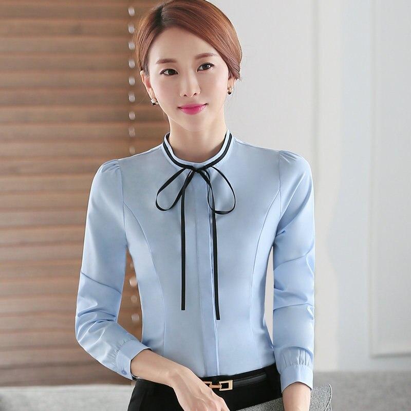 7e9ce1ce7 € 13.64 10% de DESCUENTO|Camisas blancas de manga larga de Otoño 2016  blusas de moño para mujer ropa de trabajo para oficina blusas negras ...