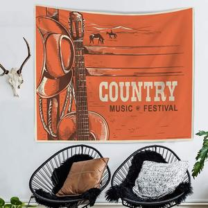Image 2 - תווי נגינה אקוסטית גיטרה Hippie Boho בית חווה דקור פסיכדלי קיר תליית מודפס שטיח בית חוף מגבות