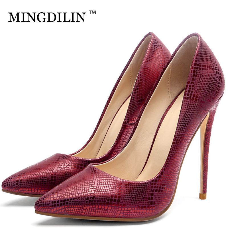 MINGDILIN Silvery Women's High Heels Shoes Plus Size Woman Bridal Shoes Red Pointed Toe Sexy Wedding Party Pumps Stiletto 2018 cocoafoal woman silvery crystal pumps pointed toe stiletto sexy wedding pumps plus size 32 33 43 47 crystal high heels shoes