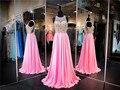 Gola alta Sem Mangas Rosa Chiffon Longo Vestido de Baile Beading Recorte Side Vestidos de Festa Vestido de Noite Vestido De Concurso