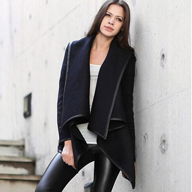 2015 Nueva Llegada Irregular Delgado Sólido Abrigo de Lana Cazadora Vendimia Moda Caliente Otoño Invierno Femme Manteau Casaco Feminino