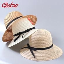 Geebro Sol sombrero Panamá sombreros de paja para el verano mujeres visera  sombrero de playa con cdbf74a1efb