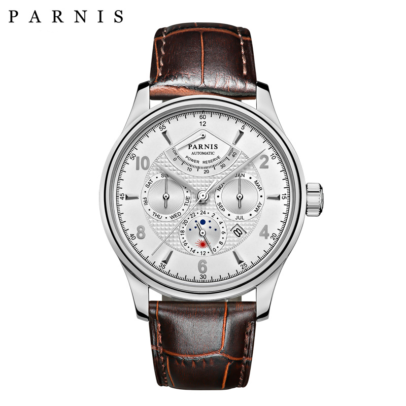 42mm Parnis Automatic Watch Men Power Reserve Mechanical Wrist Watch White Dial Silver Numbers Moon Phase Casual Man Watch hot sale 46mm parnis black dial power reserve white marks automatic men wrist watch page 1