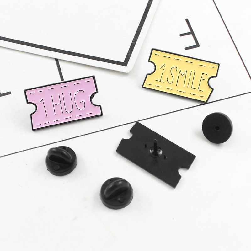 Pink Kuning Biru Enamel Bros 1 Smile 1 Pelukan 1 Ciuman Slogan Kata Label Huruf Pin Kerah Kemeja Ransel Topi lencana Perhiasan Hadiah