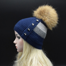 2017 Winter Knitted Wool Hats For Women Fashion Pompon Beanies Fur Hat Female Warm Caps With Natural Genuine Raccoon Fur Caps