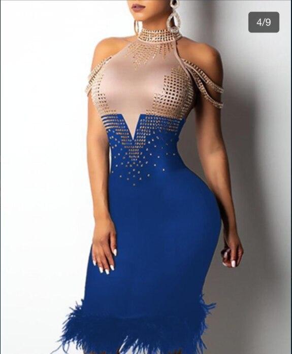 2019 nouveau percé sexy bretelles rouge noir bleu plume bandage robe Sexy soirée moulante gros femmes vêtements autu