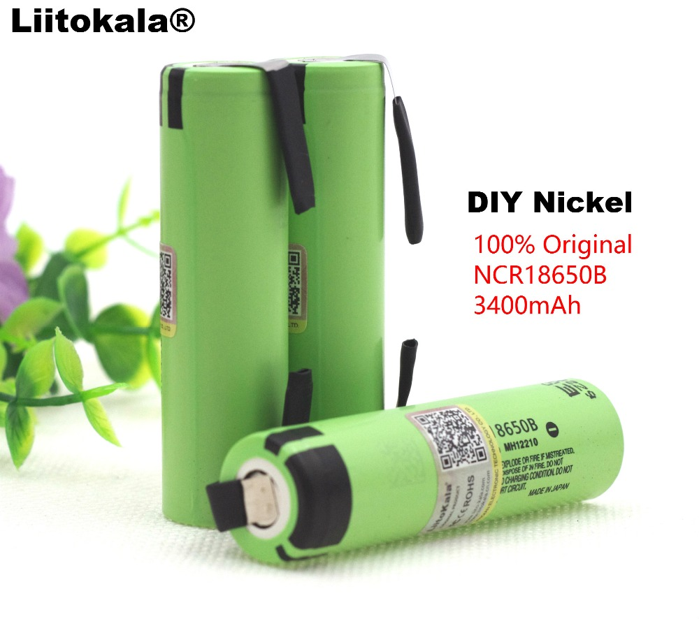 Liitokala 100% New Original NCR18650B 3.7 v 3400 mah 18650 Lithium Rechargeable Battery DIY Nickel Sheet batteries-in Replacement Batteries from Consumer Electronics