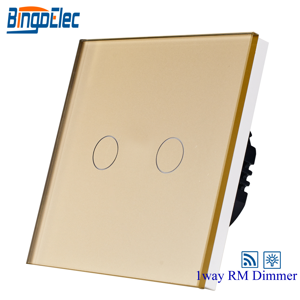EU/UK ,2gang 1way 700W touch remote dimmer light switch ,gold glass panel touch switch ,AC110-240v , 2gang dimmer light switch 2gang1way touch sensor dimmer switch eu uk standard ac110 250v