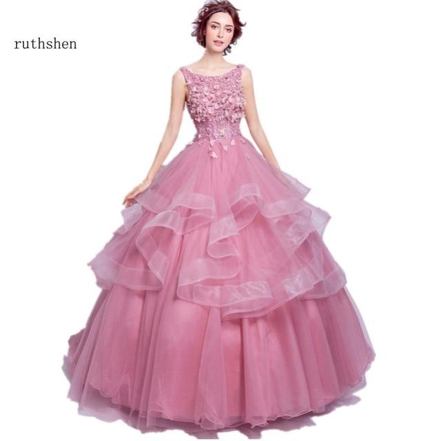 ruthshen Ball Gown Evening Dresses 2018 Light Pink Ruffles Lace ...