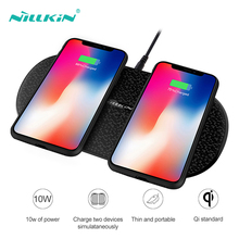 лучшая цена NILLKIN Dual Wireless Phone Chargers For iPhone 8 Xr Plus Qi Fast Charging Pad For iPhone X Xs Max 8 Portable 10w Quick Charger