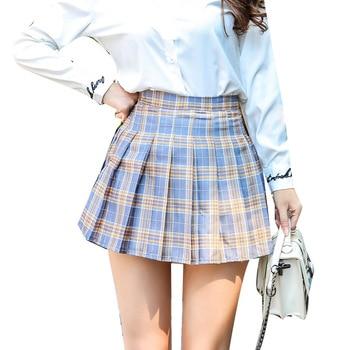 Women Fashion Mini Pleated Skirt Casual Loose Plaid Skirt 2019 New Korean Style A-Line Skirt High Waist kawaii skirt 6
