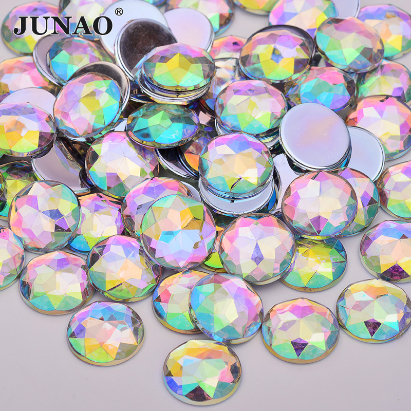 JUNAO 20mm 25mm 30mm Big Crystal AB Round Rhinestones Acrylic Gems Non  Sewing Stones Glue On Flatback Strass for Clothes Crafts-in Rhinestones  from Home ... 391dd0fa40cd