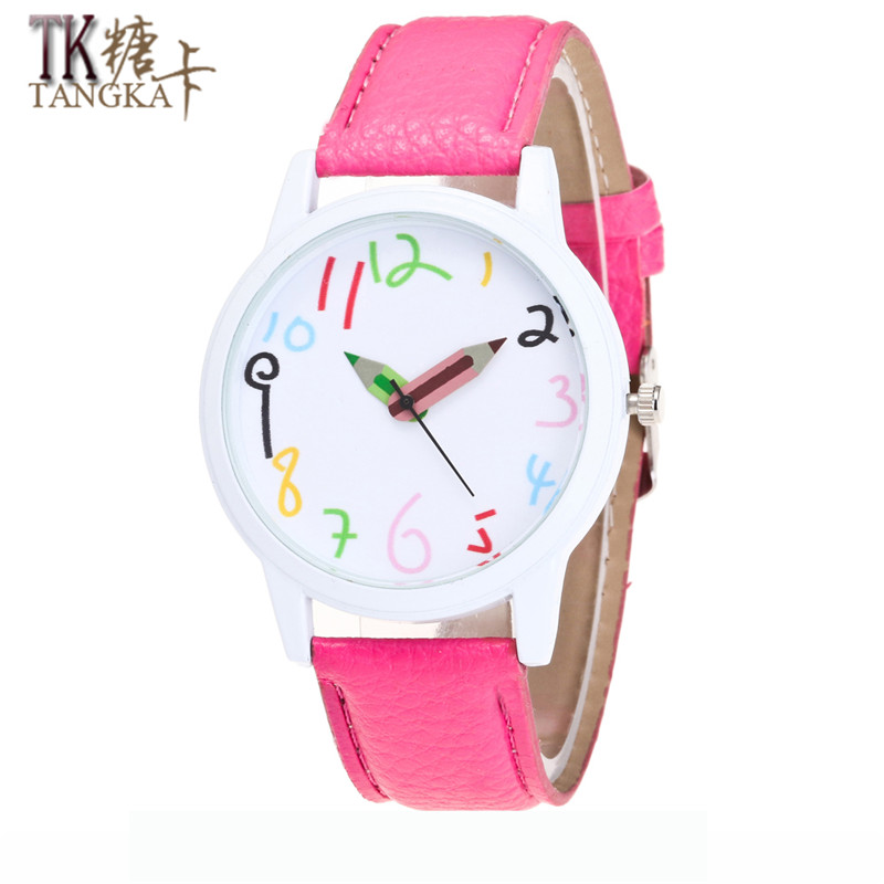bfadb1c2d18 2017 New Lovely Girl watch Color Pencil Clockwise display Show Male Female  Student Casual Watch Analog Leather Lady Quartz Watch