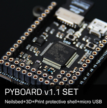 PyBoard V1.1 MicroPython Micro Python 3 Board Set With Pin Base 3D Print Case USB Cable