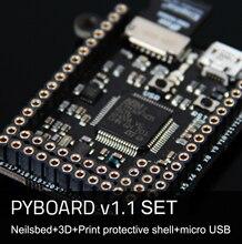 Pyboard v1.1 micropython micro python 3 보드 세트 핀베이스 3d 프린트 케이스 usb 케이블