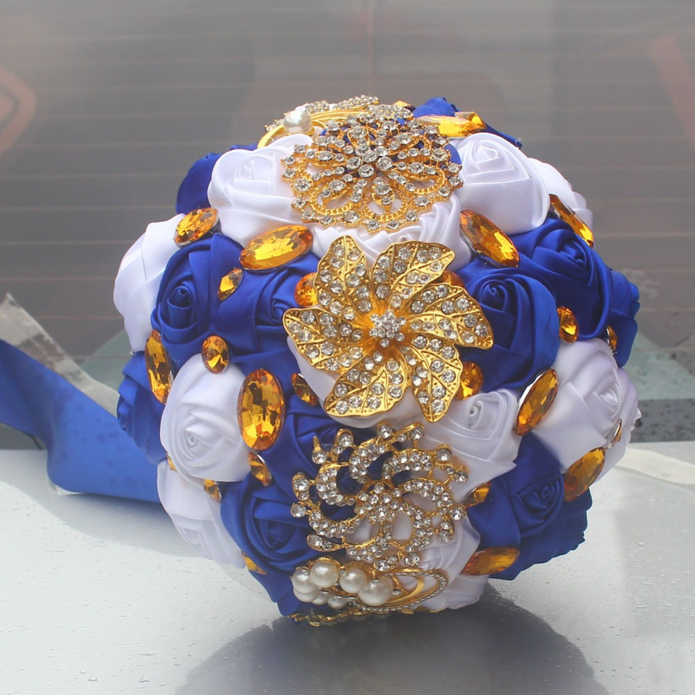 Wifelai A Gold Brooch Hand Holding Flower Bouquets Custom Royal Blue