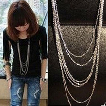 Multilayer Chain Tassel Necklace Fashion Silver Plated Sweater Long For Women Vintage Statement Jewelry