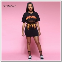 2018 Women Black Sexy 2 Two Piece Set Skirts Outfits Crop Top Flame Suit Short Sleeve Back Hollow Out Night Club Summer Clothes