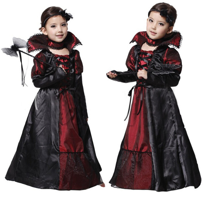 Children Girls Witch Costume Halloween Costume Princess Vampire Cosplay Dress Carnival Party Cosplay for Kids