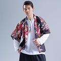 2016 nuevos hombres del verano ropa de moda de la calle de impresión ocasionales de los hombres flojos kimono de japón hiphop chaqueta capa de la rebeca ropa de abrigo