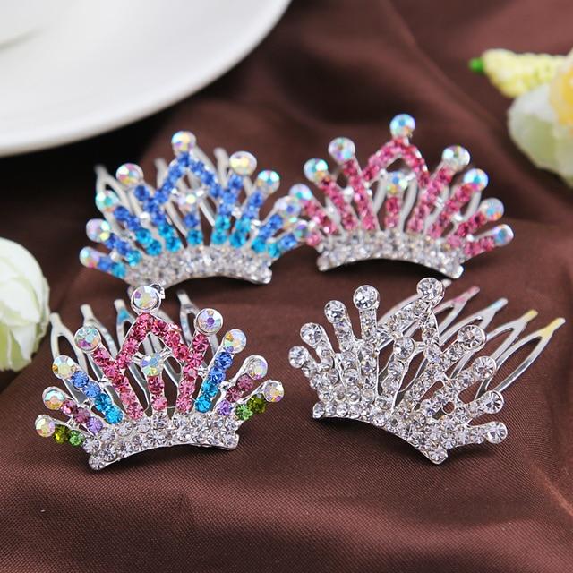 Crown Colorful Crystal Girl Hair Comb Kids Headwear
