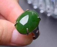 Натуральный зеленый яшма Gem Кольцо природных драгоценных камней кольцо стерлингового серебра 925 стильный элегантный большой роскошный кру