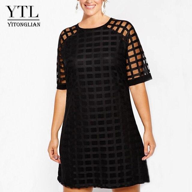 YTL для женщин; Большие размеры платье черный сетка короткий рукав Сдвиг мини-платье большой Размеры Лето Винтаж Платья для вечеринок 4XL 5XL 6XL 7XL H084