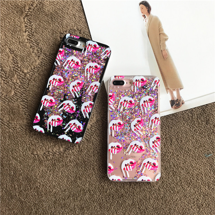 10pcs/lot Brand Fashion Sexy Lip Icecream Quicksand Flowing Back Full Cover Case For iPhone8 6/6s 7plus Skin Shell Protection