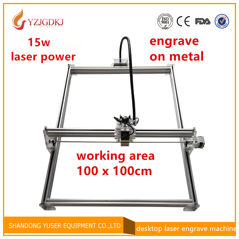 15 w laser cutter in metallo macchina di marcatura supporto software inglese formato di lavoro 1*1 m incisore laser segno metallo grande formato di lavoro di alimentazione