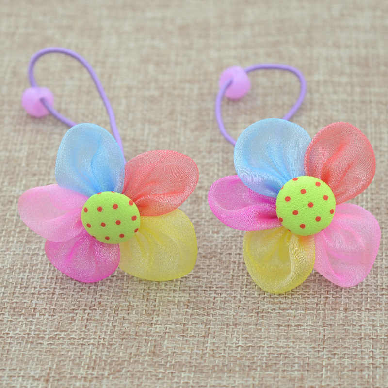 2PCS/Lot New Fashion Candy Color Scrunchy Headband Girls Bow Flower Rabbit Hair Accessories Flower Hair Bands Rubber Gum Ornamen