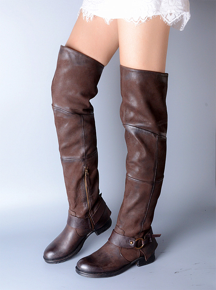 botas mujer thigh high boots genuine leather over the knee boots