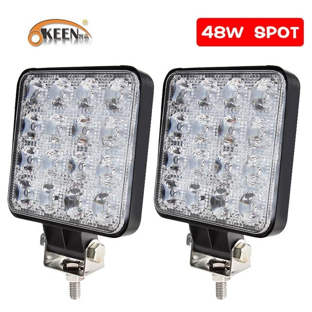 OKEEN 4inch 10cm 18W 27W 48W Offroad Car 4WD Truck Tractor Boat Trailer 4x4 SUV ATV 12V Spot Flood LED Light Bar LED Work Light