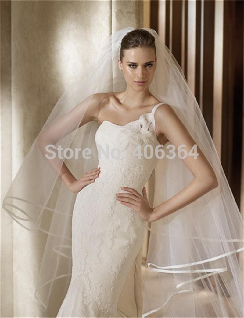 2017 Wholesale Simple 3 Meters Long Tulle Wedding Veils With CombTwo Layer Ribbon Edge Wedding accessories Hot Sale