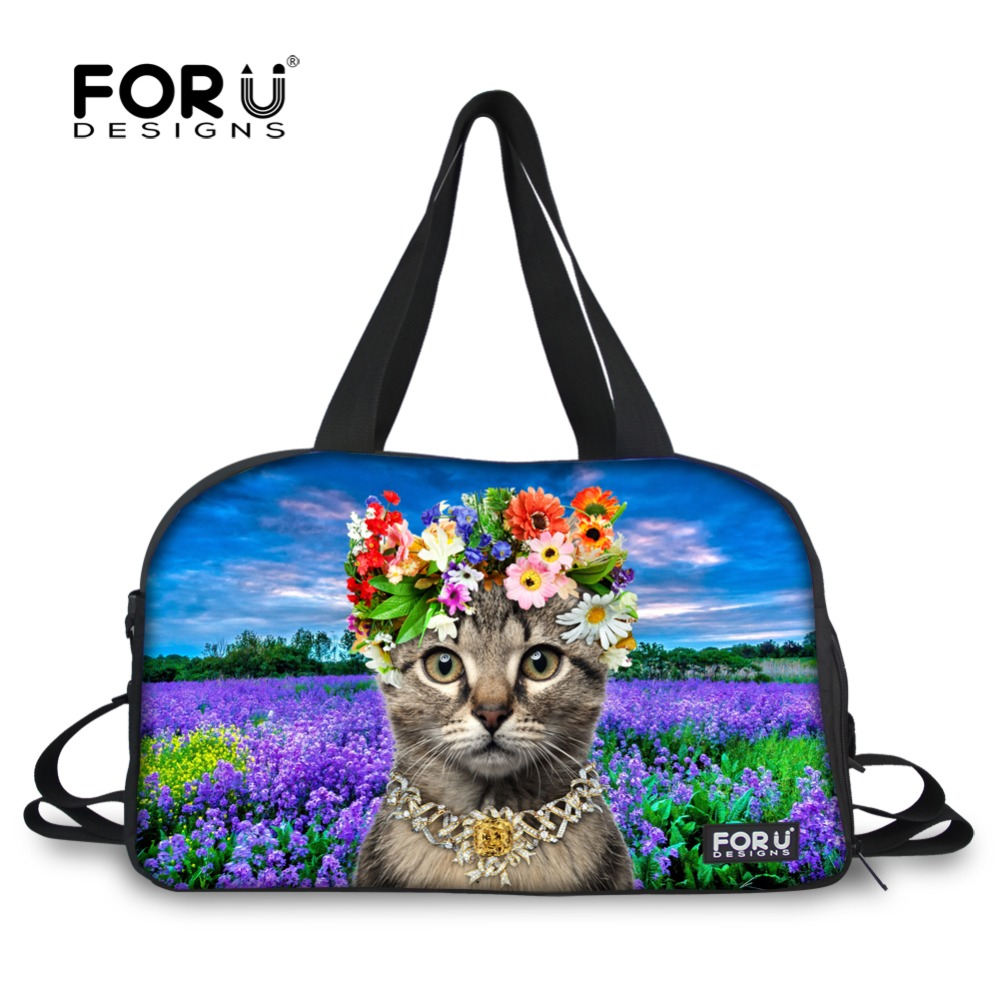 2b3a66694dea Cute Pet Cat Animal Print Women Travel Duffle Bag Casual Flower Women  Canvas Travel Bag Large Capacity Travel Duffel Tote Bags-in Travel Bags  from Luggage ...