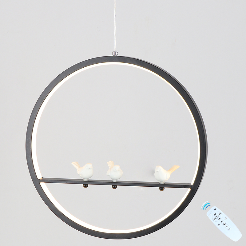 LED Pendant Light 2.4G RF Remote Control Indoor Bedroom Study Lighting Decoration Modern Simple Style With Birds Pendant Lamp pastoral style rattan wicker pendant light natural simple birds house pendant light