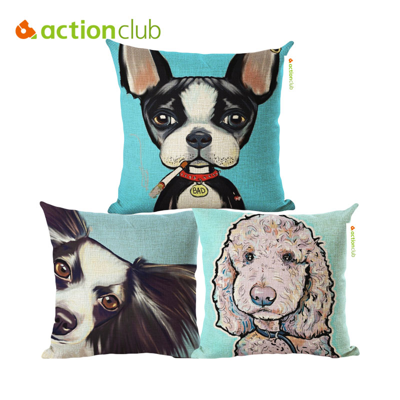 Actionclub Dog Cushion Cover Sofa Bulldog Printed Cotton Linen Pillow Cover Puppy Patrulla Canina Car Use Almofada Decorativa