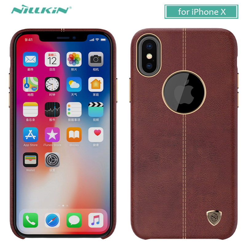 Para o iphone x 10 8 7 6 6s caso nillkin englon série caso de couro do telefone para o iphone 8 plus 7 plus 6s mais luxo caso capa traseira