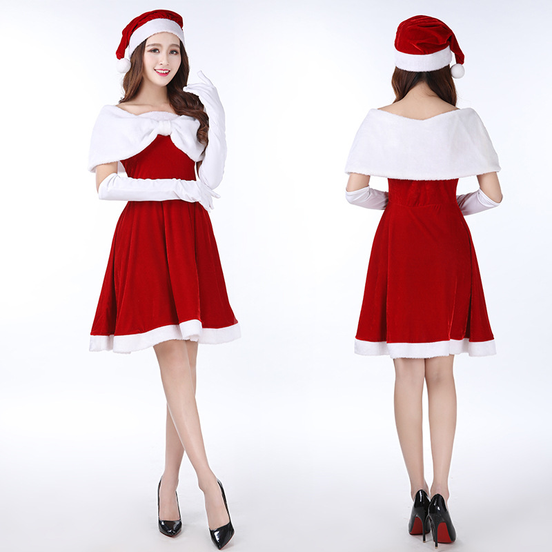 Christmas Lovely Fairy Women Costume Cosplay Princess Dress for Christmas Party Clothes Lovely Charming One-Piece Dress Girls