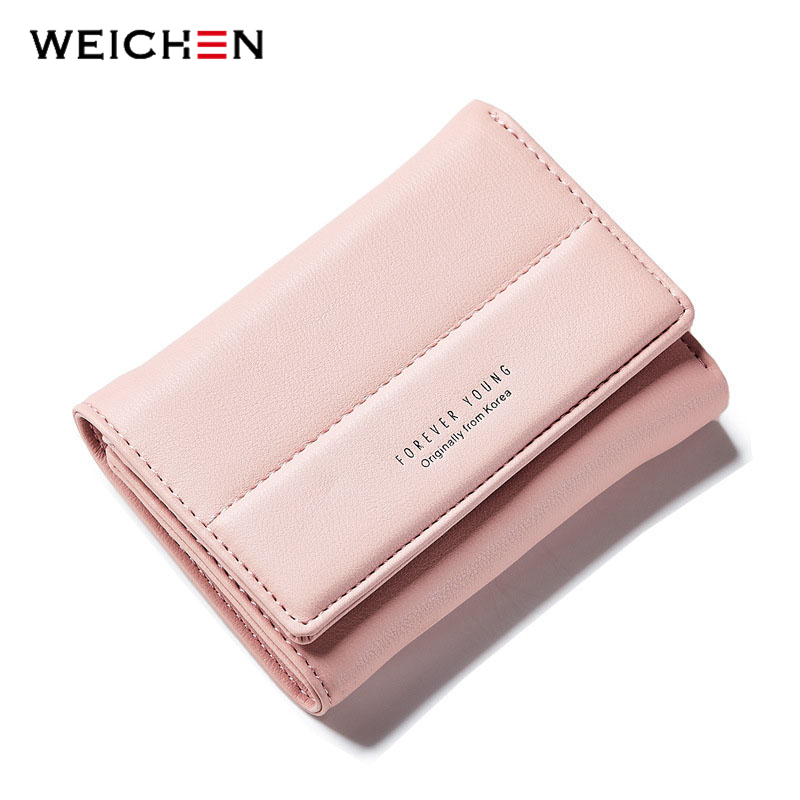 WEICHEN New Design Women Short Wallets Photo Card Holder PU Leather Coin Purpse Fashion Hasp Female Wallet with Zipper Poucht casual weaving design card holder handbag hasp wallet for women